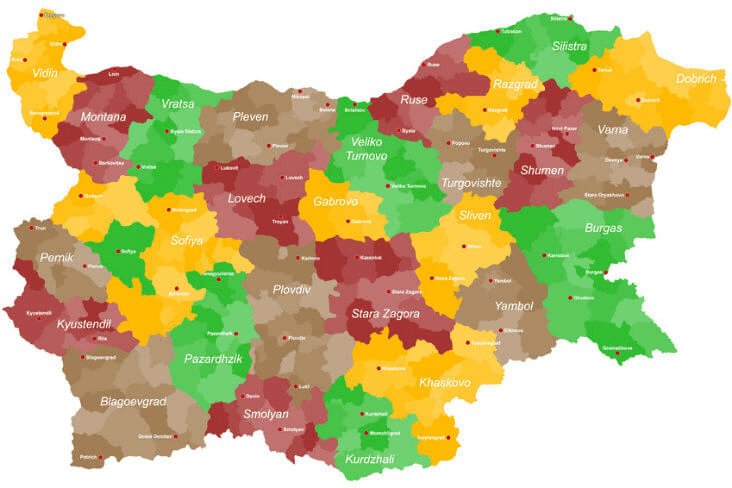 Cities in Bulgaria