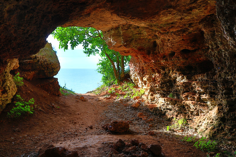 The entrance of the seafront ancient cave at Yailata area-archaeological and nature reserve